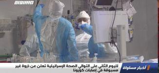 لليوم الثاني على التوالي الصحة الإسرائيلية تعلن عن ذروة غير مسبوقة في إصابات كورونا،اخبارمساواة،24.9